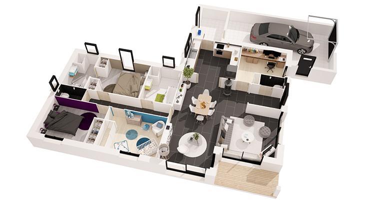 Brva m chambres u maisons de with plan 3d chambre for Dessiner ma cuisine en 3d