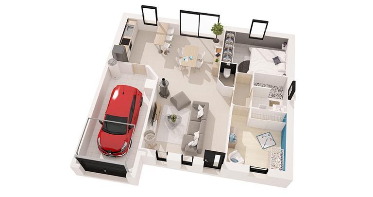 Plan Maison 2 Chambres 3d