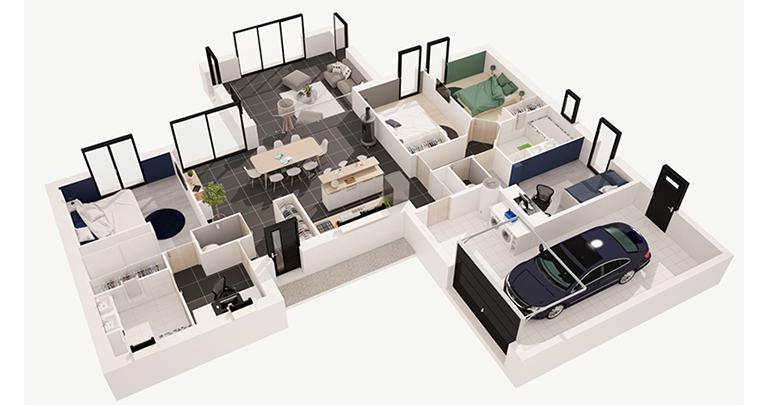 plan maison 3 chambres 3d. Black Bedroom Furniture Sets. Home Design Ideas