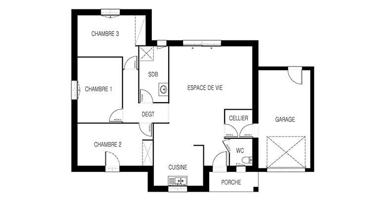 maison Tivano plan 2d Maisons de l'Atlantique