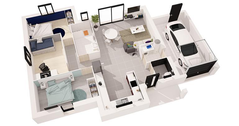 maison Tivano plan 3d Maisons de l'Atlantique