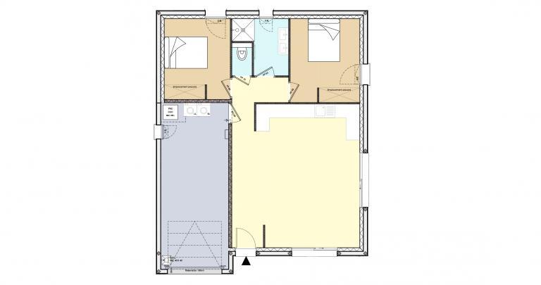 Constructeur maison individuelle Loire Atlantique | Plan Maison 2 chambres | 44