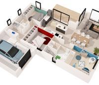 maison midi plan 3D Maisons de l'Atlantique