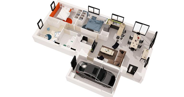 Maison Maloja plan 3D | Constructeur 44 Maisons de l'Atlantique