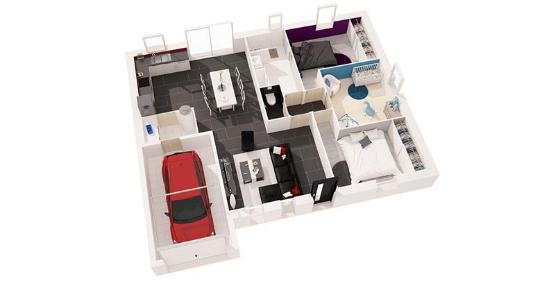 Constructeur maison Loire Atlantique | Maison plain-pied plan 3D