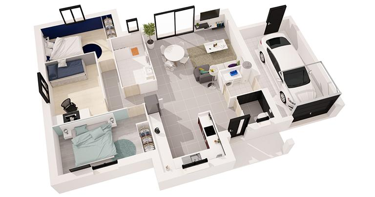 Maison moderne Tramontane plain-pied plan 3D | Constructeur 44 Maisons de l'Atlantique