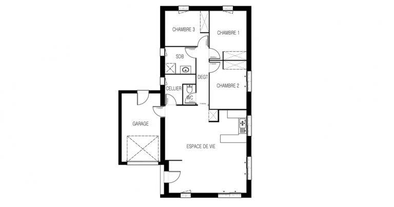maison moderne Galerne plan 2d | Constructeur 44