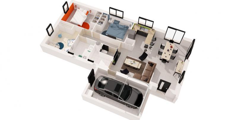 maison moderne Galerne plan 3d | Constructeur 44