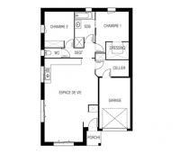 Constructeur maison moderne Loire Atlantique | Plan 2D maison 2 chambres
