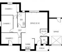 Maison moderne Tramontane plain-pied plan 2D | Constructeur 44 Maisons de l'Atlantique
