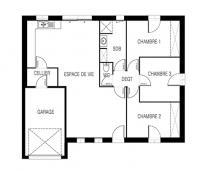 Constructeur maison Loire Atlantique | Maison plain-pied plan 2D